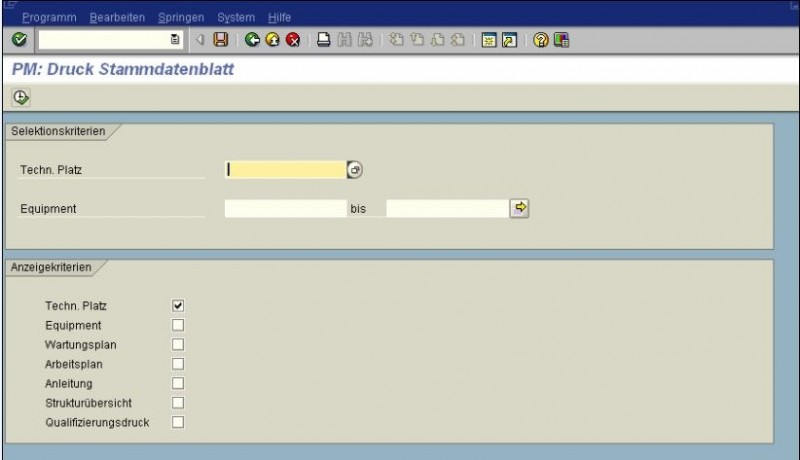 Screenshot: Druckfunktion Stammdaten in SAP PM