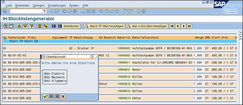 Stücklistengenerator Screenshot